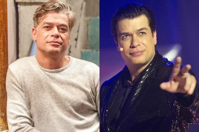 Fábio Assunção, respectivamente, antes e agora com novo visual para a série (Foto: Artur Meninea e Estevam Avellar/ TV Globo)