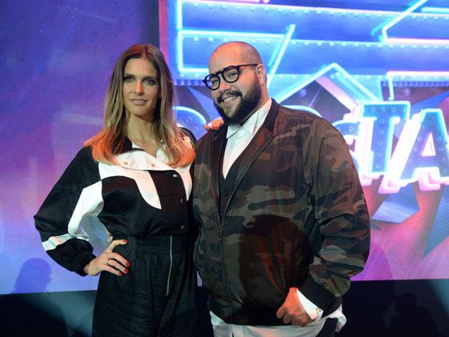 Fernanda Lima e Tiago Abravanel durante coletiva. (Foto: Divulgação)