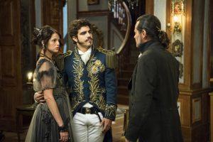 Domitila (Agatha Moreira), Pedro (Caio Castro) e Bonifácio (Felipe Camargo) em 'Novo Mundo' (Foto: Globo/Estevam Avellar)