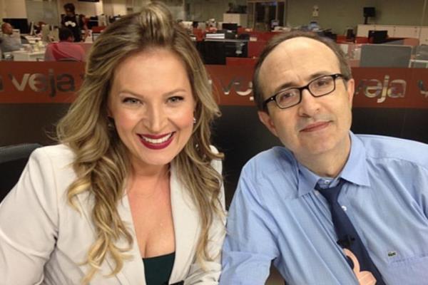 Joice Hasselmann e Reinaldo na TVeja. Foto - divulgação.