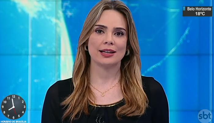 """A apresentadora Rachel Sheherazade no """"SBT Brasil"""" (Foto: Reprodução/SBT)"""