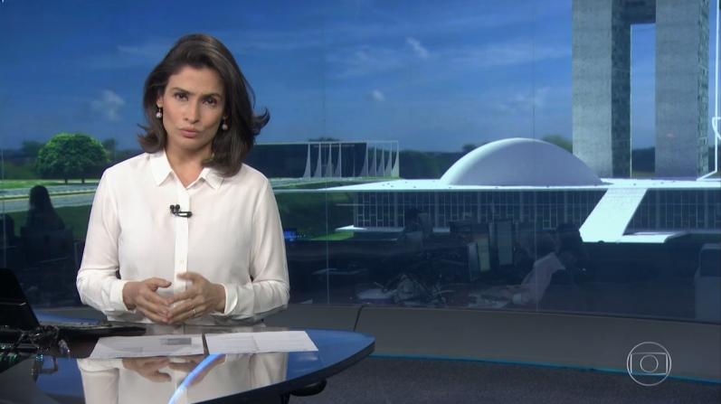 """Renata Vasconcellos no """"Jornal Nacional"""" (Foto: Reprodução/Globo)"""