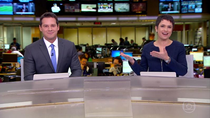 Dony de Nuccio com Sandra Annnenberg em sua estreia no Jornal Hoje (Foto: Reprodução/Globo)