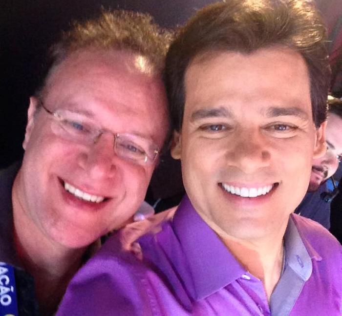 Jorge Tadeu e Celso Portiolli durante gravação no SBT (Foto: Reprodução)