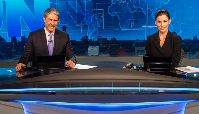 William Bonner e Renata Vasconcellos no Jornal Nacional; Amazon Prime tem anunciado nos intervalos do telejornal mais caro do país (Foto: Globo/João Cotta)