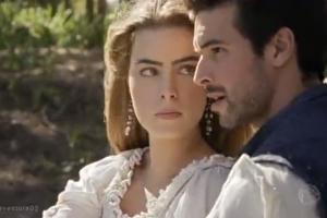 """Pietra (Rayanne Morais) e Enrico (Bernardo Velasco) em cena de """"Belaventura"""" (Foto: Reprodução/Record)"""