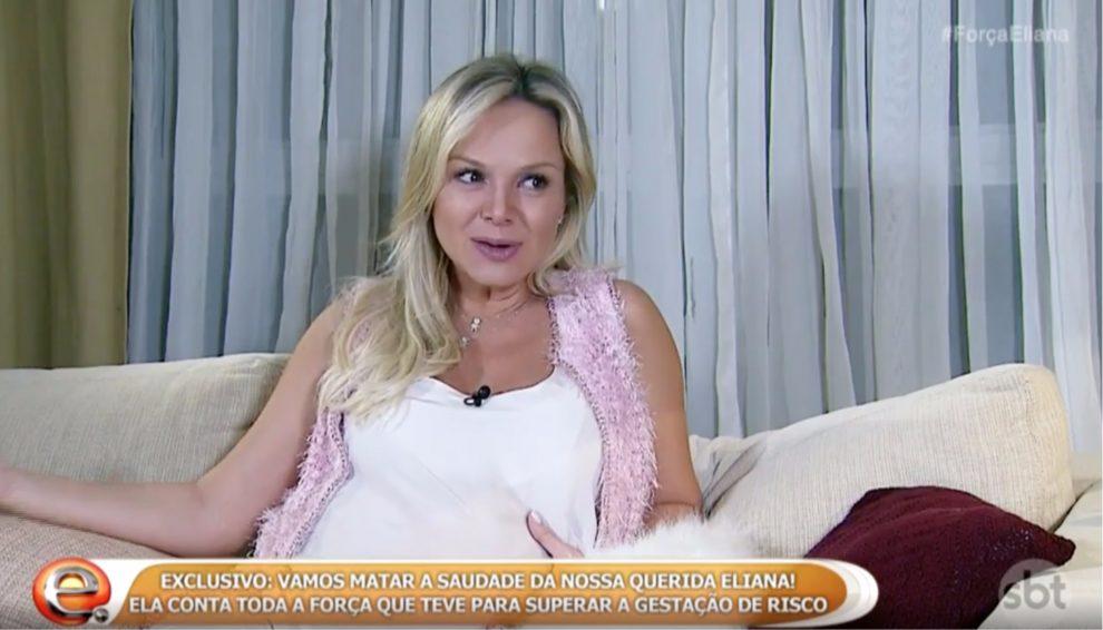No SBT, Eliana chora, fala de gravidez de risco e faz agradecimento à Globo