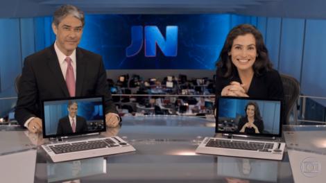 William Bonner e Renata Vasconcellos em divulgação do Globo Play (Foto: Reprodução/Globo)