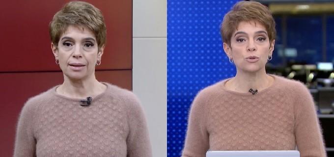 A apresentadora Renata nem trocou de roupa de um jornal para o outro. (Foto: Reprodução)