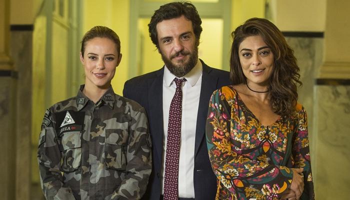 """Jeiza (Paolla Oliveira), Caio (Rodrigo Lombardi) e Bibi (Juliana Paes) em """"A Força do Querer"""" (Foto: Globo/Mauricio Fidalgo)"""