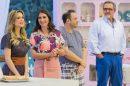 "Beca Milano, Carol Fiorentino, Alexandre Leggieri e Fabrizio Fasano Jr. no ""Bake Off Brasil"" (Foto: Artur Igrecias/SBT)"