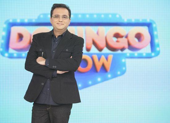 """O apresentador Geraldo Luís no """"Domingo Show"""" (Foto: Edu Moares/Record)"""