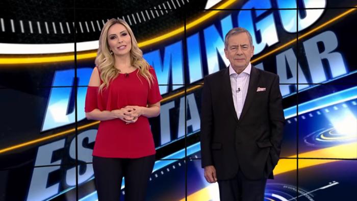 """Thalita Oliveira e Paulo Henrique Amorim no """"Domingo Espetacular"""" (Foto: Reprodução/Record)"""