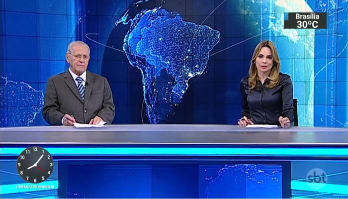 """Os apresentadores Joseval Peixoto e Rachel Sheherazade no """"SBT Brasil"""" (Foto: Reprodução/SBT)"""