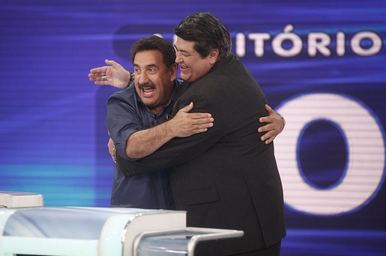 Silvio Santos recebeu Ratinho e Datena em seu programa no SBT (Roberto Nemanis/SBT)
