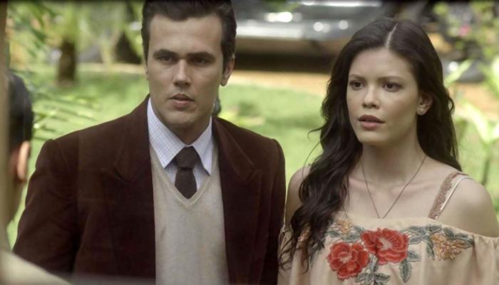 Vicente (Bruno Ferrari) e Maria Vitória (Vitória Strada) em cena de Tempo de Amar (Foto: Divulgação/Globo)