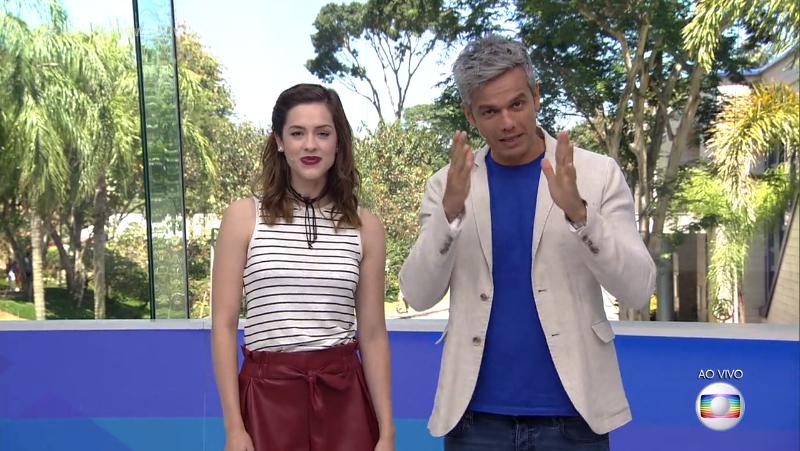 Sophia Abrahão e Otaviano Costa no comando do Vídeo Show (Foto: Reprodução/Globo)