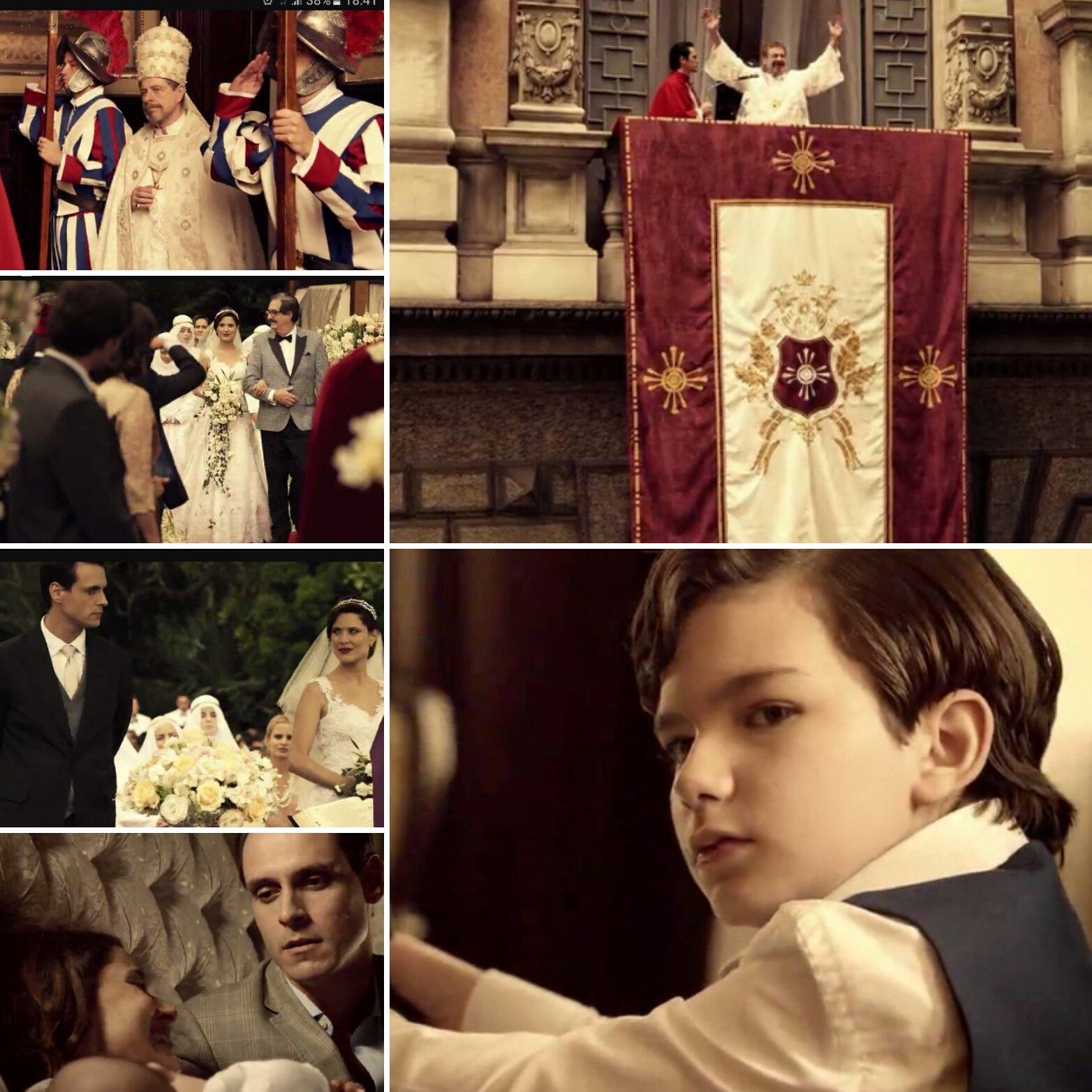 Recortes de cenas da novela Apocalipse, fazendo alusão a Igreja Católica (Foto: Reprodução)