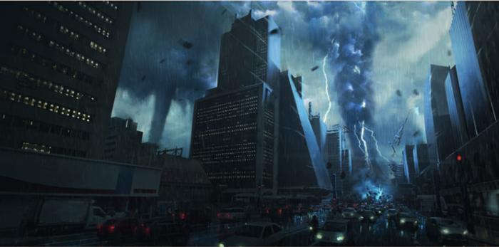 Avenida Paulista é atingida por catástrofe natural em cena de Apocalipse (Foto: Reprodução/Record)