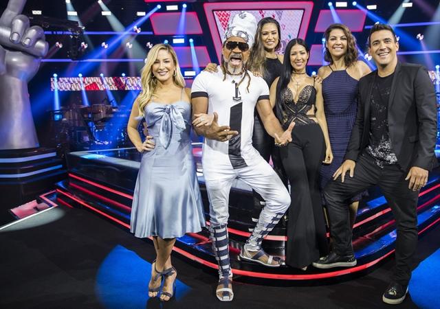 Cláudia Leitte, Carlinhos Brown, Simone & Simaria, Thalita Rebouças e André Marques (Foto: Globo/João Miguel Júnior)