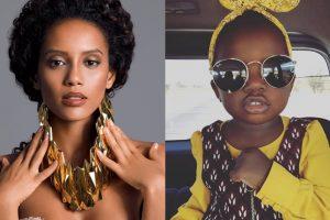 Mulher e criança negras em fotos paralelas