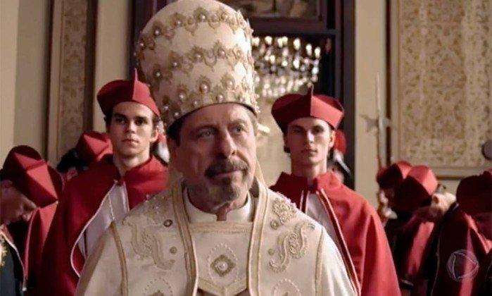 Cena da novela Apocalipse da Record que retrata Flavio Galvão (Stefano) como falso profeta (Foto: Reprodução/ Record)