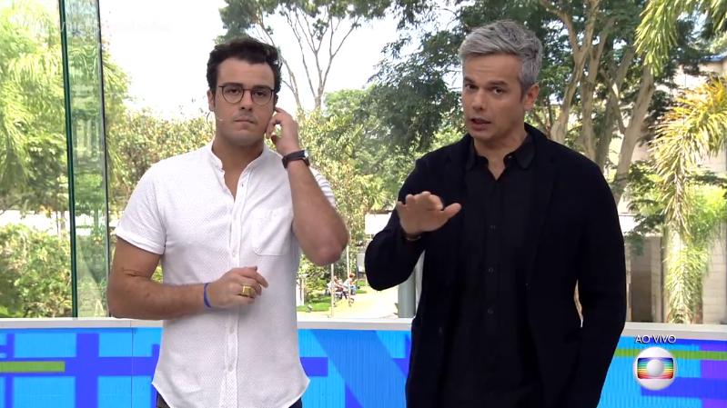 Os apresentadores Joaquim Lopes e Otaviano Costa no comando do Vídeo Show (Foto: Reprodução/Globo)