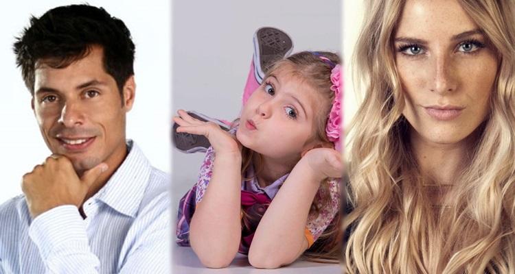 uma menina, uma mulher e um homem atores da novela Carinha de Anjo