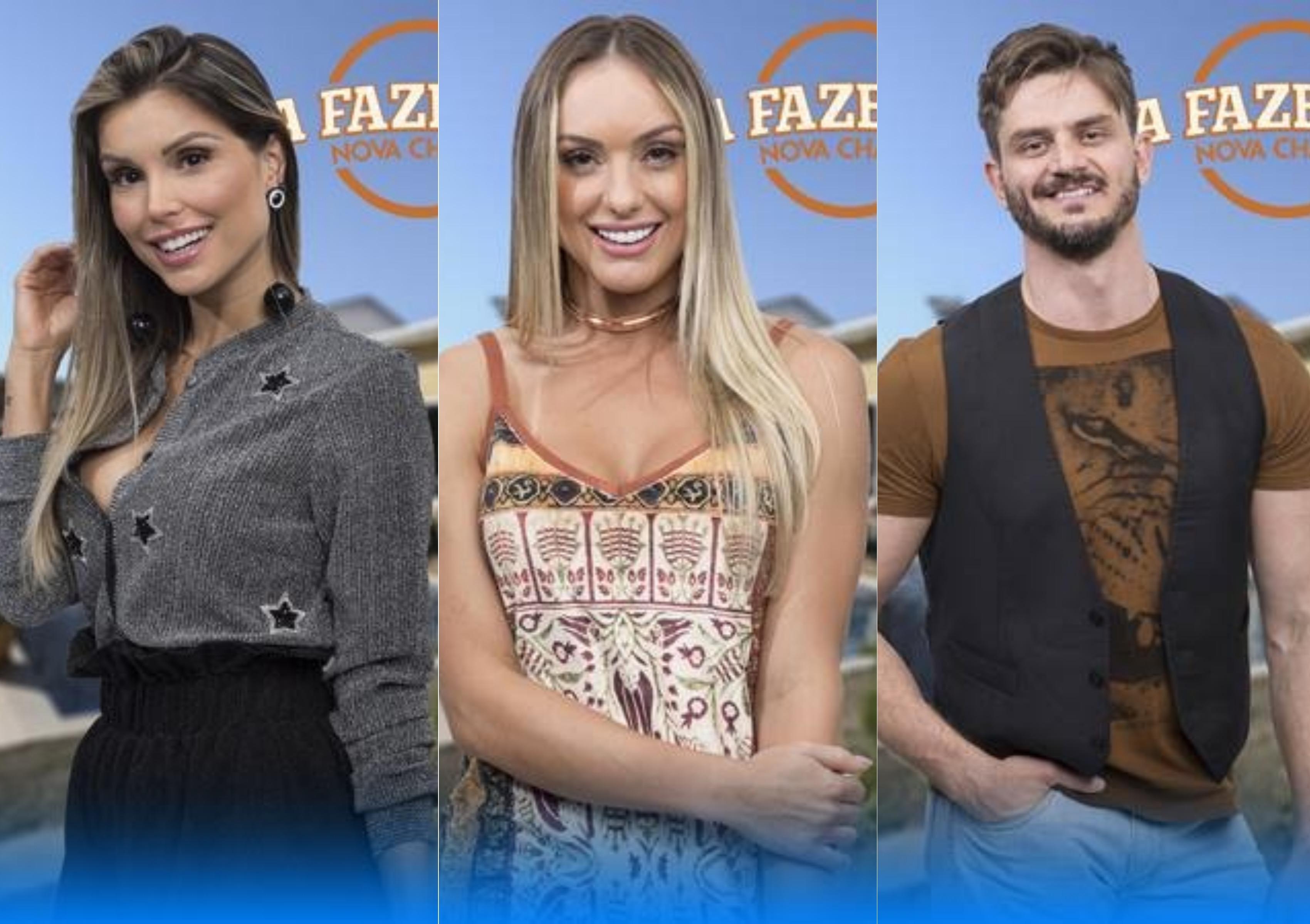 Flavia Viana, Monick Camargo e Marcos Harter estão na roça na Fazenda(Foto montagem: TV Foco)