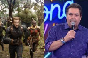 Canal fez montagem hilária de Faustão narrando novo trailer de Vingadores. (Foto: Montagem/Reprodução)