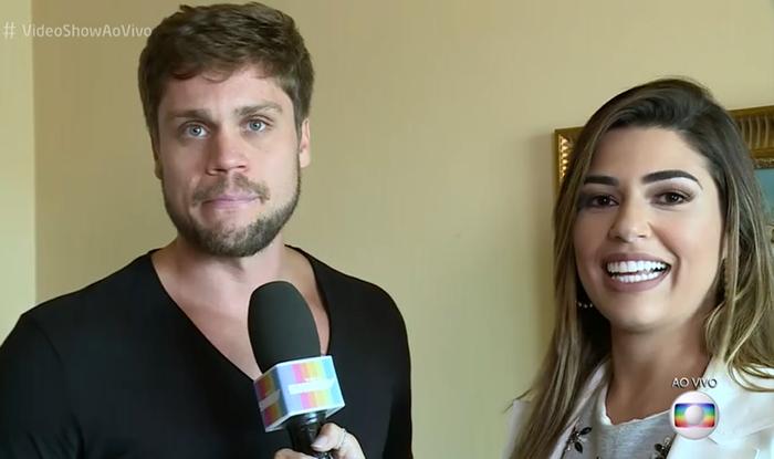A ex-BBB Vivian entrevista Breno, o segundo participante do BBB18 revelado (Foto: Reprodução/Globo)