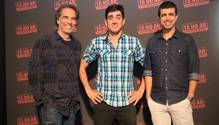 Mauricio Farias, Marcelo Adnet e Marcius Melhem no lançamento do Tá no Ar 2018 (Foto: Globo/Paulo Belote)