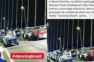 Record Gravacao. Foto do site da O TV Foco que mostra Ator sofre acidente de moto em gravação da abertura da nova temporada do Dancing Brasil na Record