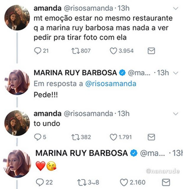 Marina Ruy Barbosa incentiva fã insegura a lhe pedir uma selfie