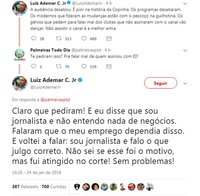 Mensagens de Luiz Ademar no Twitter. (Foto: Reprodução/Twitter)
