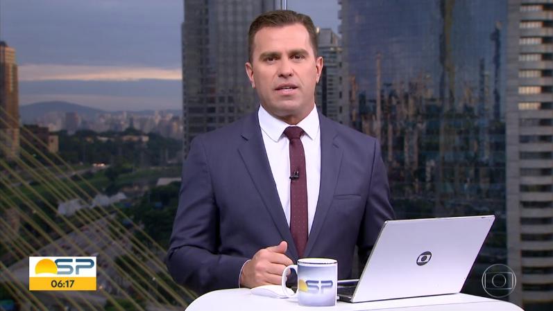 O jornalista Rodrigo Bocardi no comando do Bom Dia SP (Foto: Reprodução/Globo)