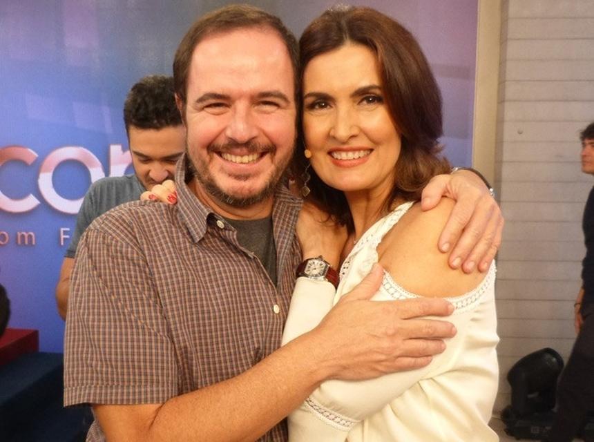Fátima Bernardes e o diretor no Encontro (Foto: Reprodução)