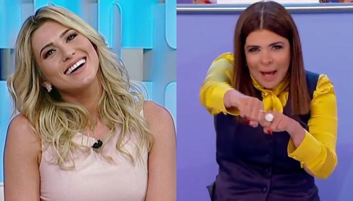 Mara Maravilha deixa palco do Fofocalizando enquanto apresentadores comemoram aniversário de Lívia Andrade e manda beijo