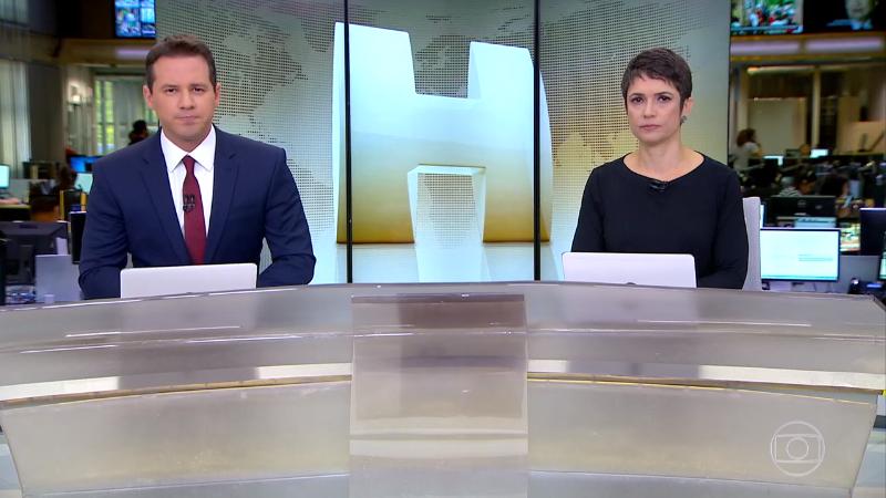 Dony De Nuccio e Sandra Annenberg no comando do Jornal Hoje (Foto: Reprodução/Globo)