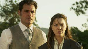 Darcy (Thiago Lacerda) e Elisabeta (Nathalia Dill) em cena de Orgulho e Paixão (Foto: Reprodução/Globo)