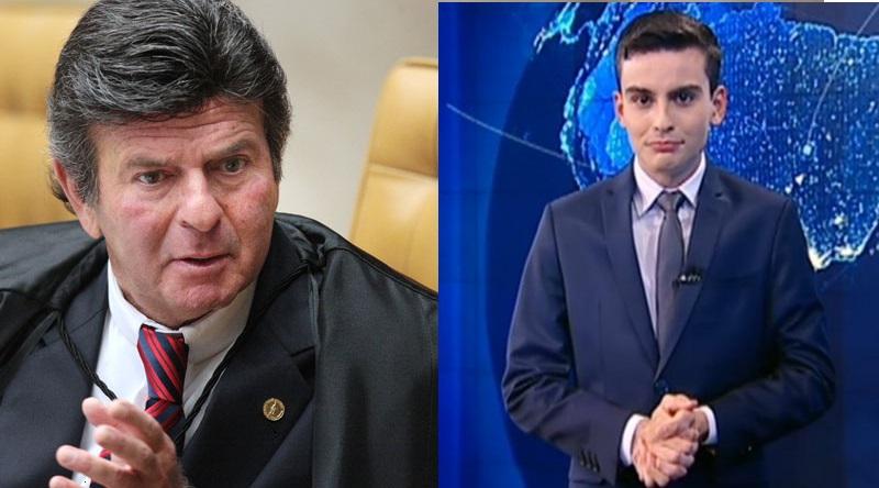 Ministro Luiz Fux (à esquerda) e Dudu Camargo, um dos nomes do jornalismo do SBT (Foto: Reprodução)