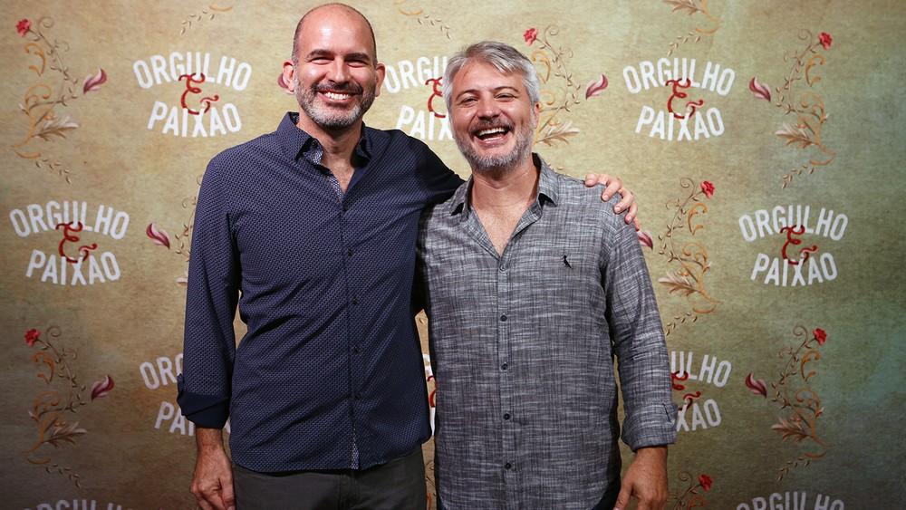 O autor Marcos Bernstein e o diretor artístico Fred Mayrink na coletiva de imprensa de 'Orgulho e Paixão' (Foto: Fábio Rocha/Gshow)