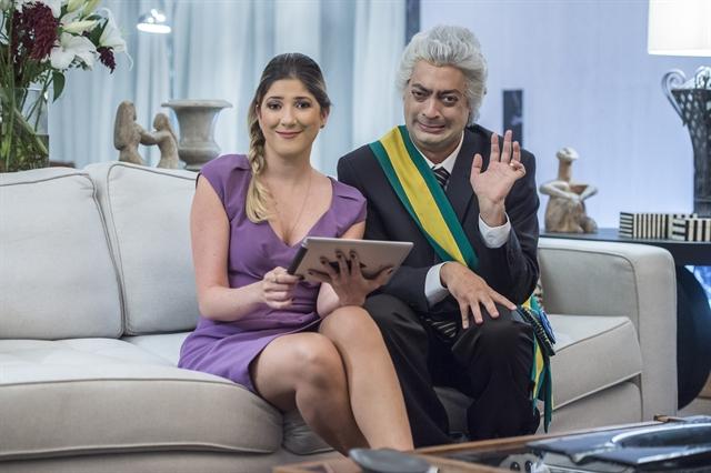 Os atores Fernando Caruso e Dani Calabresa como Temer e sua esposa, Marcella, no Zorra (Foto: Globo/Mauricio Fidalgo)