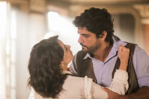 Lucinda (Andreia Horta) e Inácio (Bruno Cabrerizo) em cena de Tempo de Amar (Foto: Globo/João Miguel Júnior)