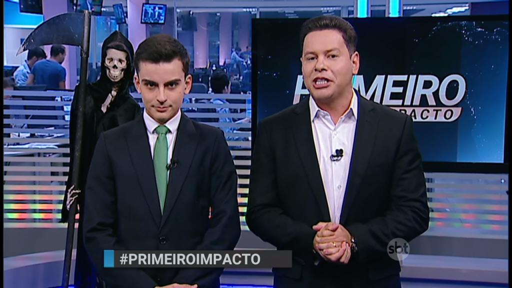 Record. Foto do site da O TV Foco que mostra Dudu Camargo e Marcão do Povo acabam com sonho da Record e consolidam Primeiro Impacto na viceliderança