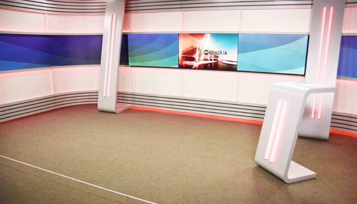 Novo cenário dos telejornais do SBT Brasília (Foto: Divulgação/SBT)