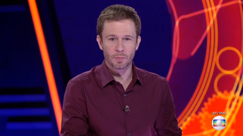 O apresentador Tiago Leifert no comando do BBB18 (Foto: Reprodução/Globo)