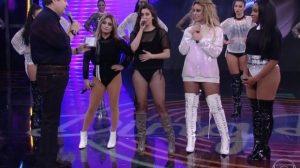 Fausto Silva e as meninas do Fifth Harmony (Foto: Reprodução)