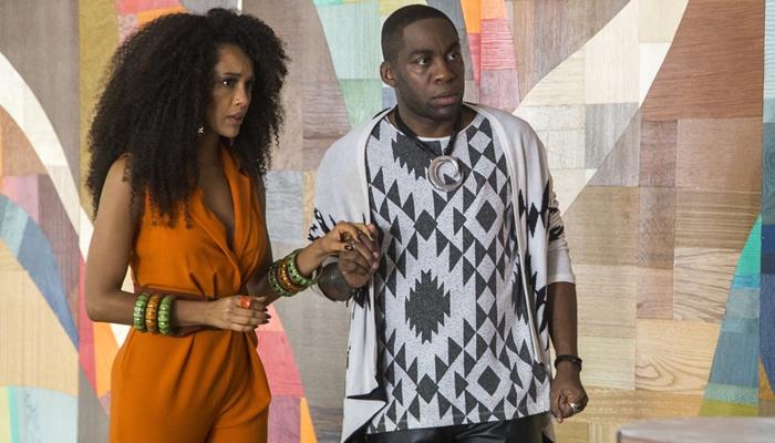 Taís Araújo (Michele) e Lázaro Ramos (Brau) em cena de Mister Brau (Foto: Globo/Marília Cabral)