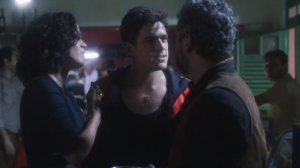Maeve Jinkings, Marco Pigossi e Alexandre Nero no primeiro capítulo de Onde Nascem os Fortes (Foto: Reprodução/Globo)